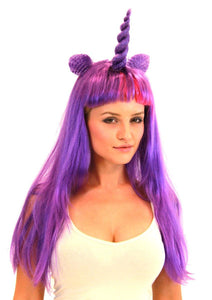 Deluxe Unicorn Costume Wig With Ears Adult: Purple/Magic One Size Fits Most