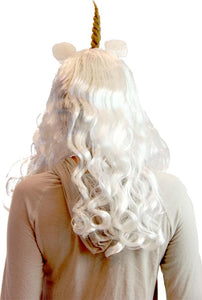 Deluxe Unicorn Costume Wig With Ears Adult: White/Prince