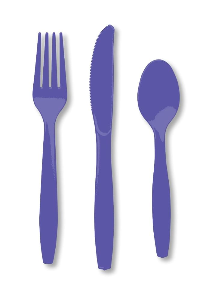 Premium Cutlery Assorted Plastic 24 Count Purple