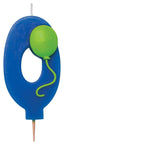 #0 Numeral Candle With Balloon Blue