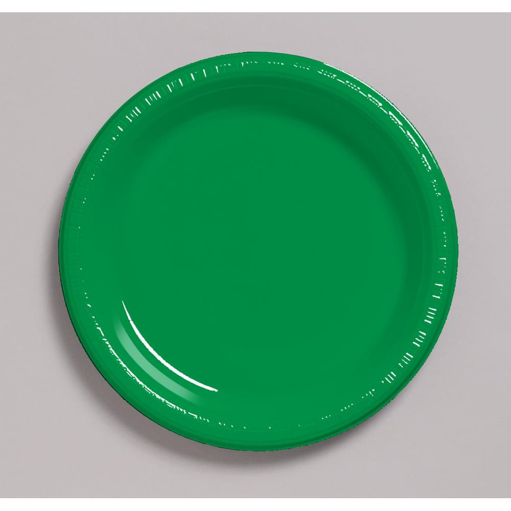 "Touch Of Color 20 Count 7"" Heavy Duty Plastic Plates Emerald Green"