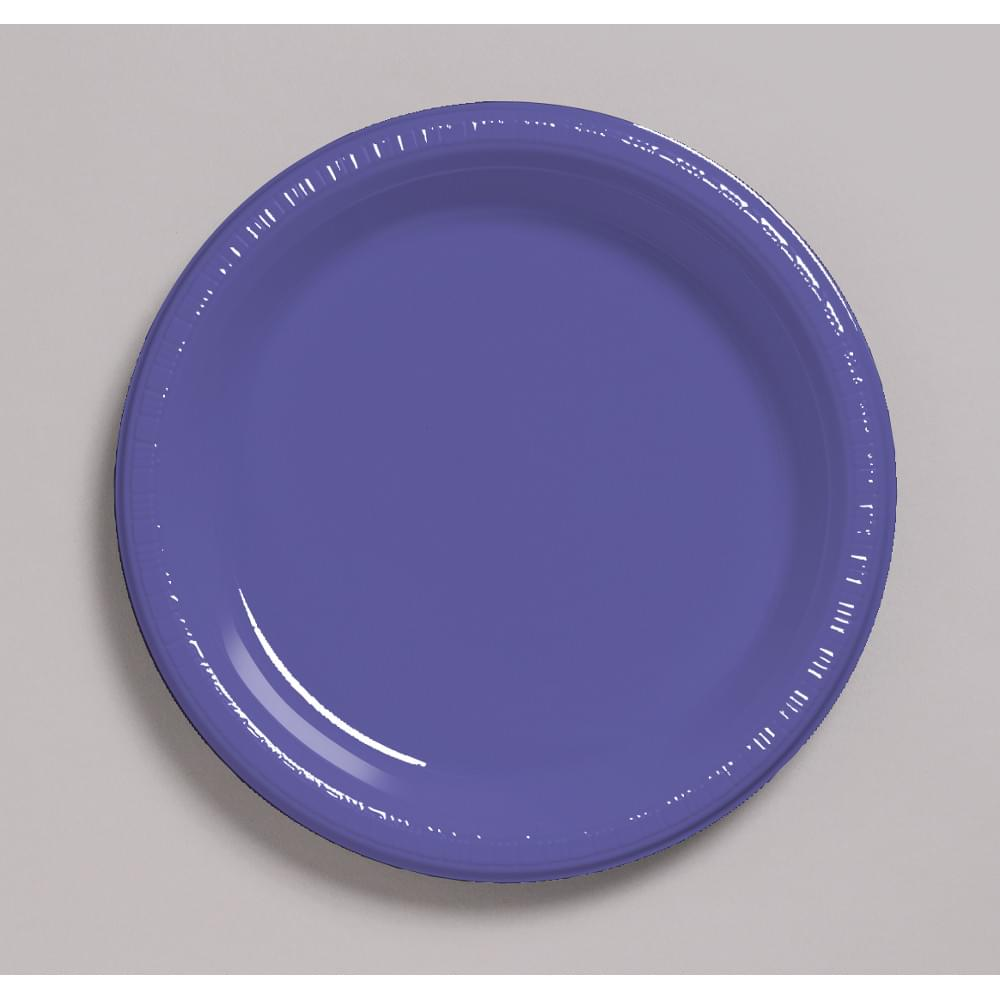 "Touch Of Color 20 Count 7"" Heavy Duty Plastic Plates Purple"