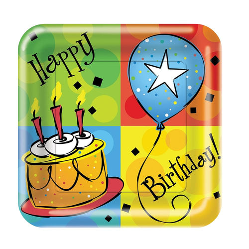 8 Pack 6 7/8 Square Luncheon Plate Cake Celebration