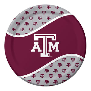 8 Pack 8 3/4 Round Luncheon Plate Texas A&M