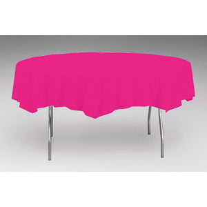 Touch Of Color Octy-Round Round Plastic Table Cover Hot Magenta