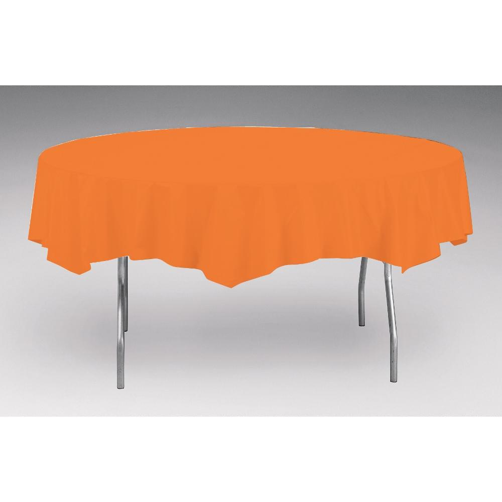 Touch Of Color Octy-Round Round Plastic Table Cover Sun Kissed Orange