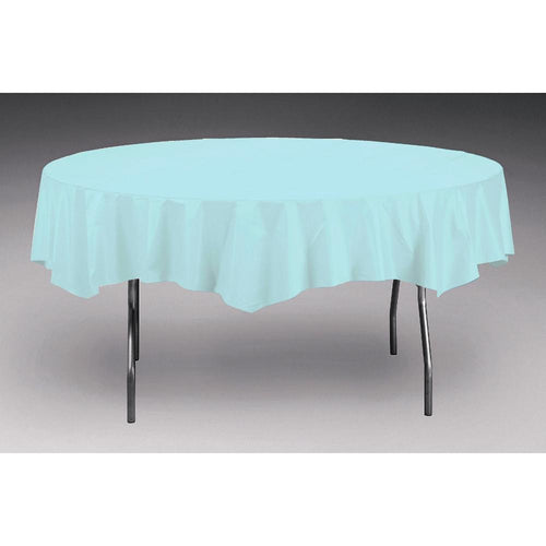 Touch Of Color Octy-Round Round Plastic Table Cover Pastel Blue