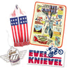 Evel Knievel Accessory Bundle - Blanket/ Sticker/ Air Freshener/ Scarf