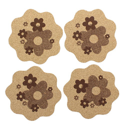Kitsch on the Rocks Retro Cork Coaster Set - Daisy - Set of 4