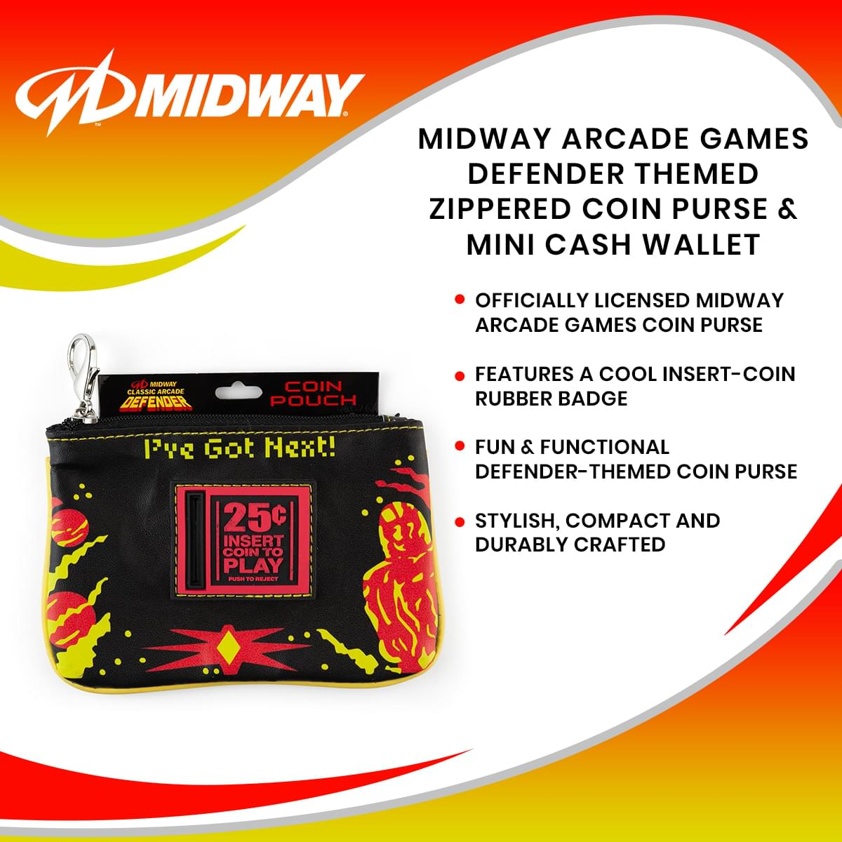 Midway Arcade Games Defender Themed Zippered Coin Purse & Mini Cash Wallet