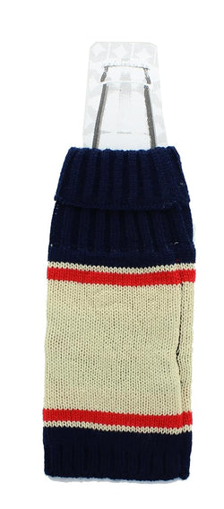 "Knit Beer Bottle Cozy - ""I Love Beer"" Navy/White/Red"
