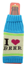 "Knit Beer Bottle Cooler - ""I Love Beer"" Aqua/Pink/White"