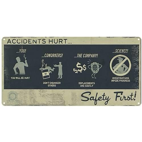 Portal Safety First Tin Wall Sign
