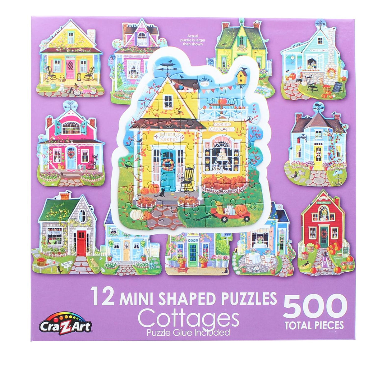 Sweet Cottages | 12 Mini Shaped Jigsaw Puzzles | 500 Color Coded Pieces