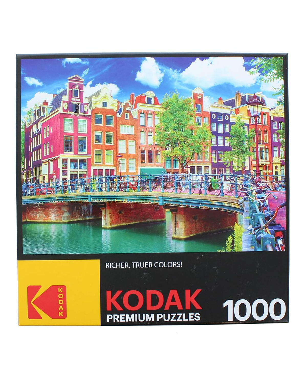 Colorful Waterfront Canal Buildings Amsterdam 1000 Piece Jigsaw Puzzle