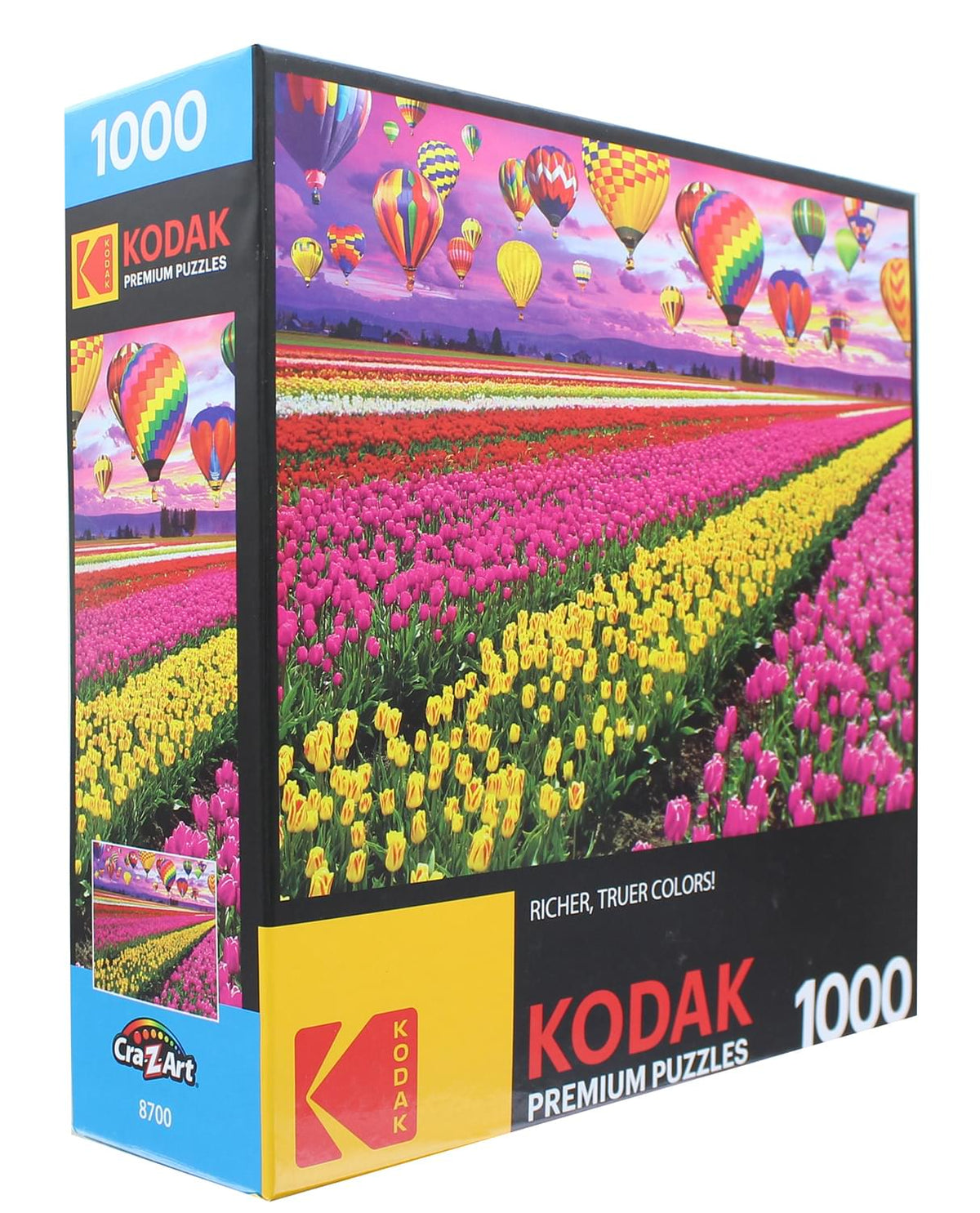 Sunset Balloons Over Tulip Field 1000 Piece Jigsaw Puzzle