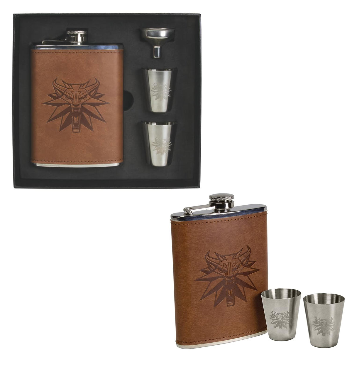 The Witcher 3 Wild Hunt 8oz Flask and Shot Glass Set