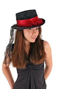 Gothic Rose Black & Red Adult Costume Top Hat