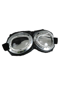 Aviator Goggle Silver & Black Adult Costume Accessory
