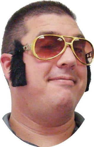 Rock & Roll King Gold Adult Costume Glasses with Sideburns