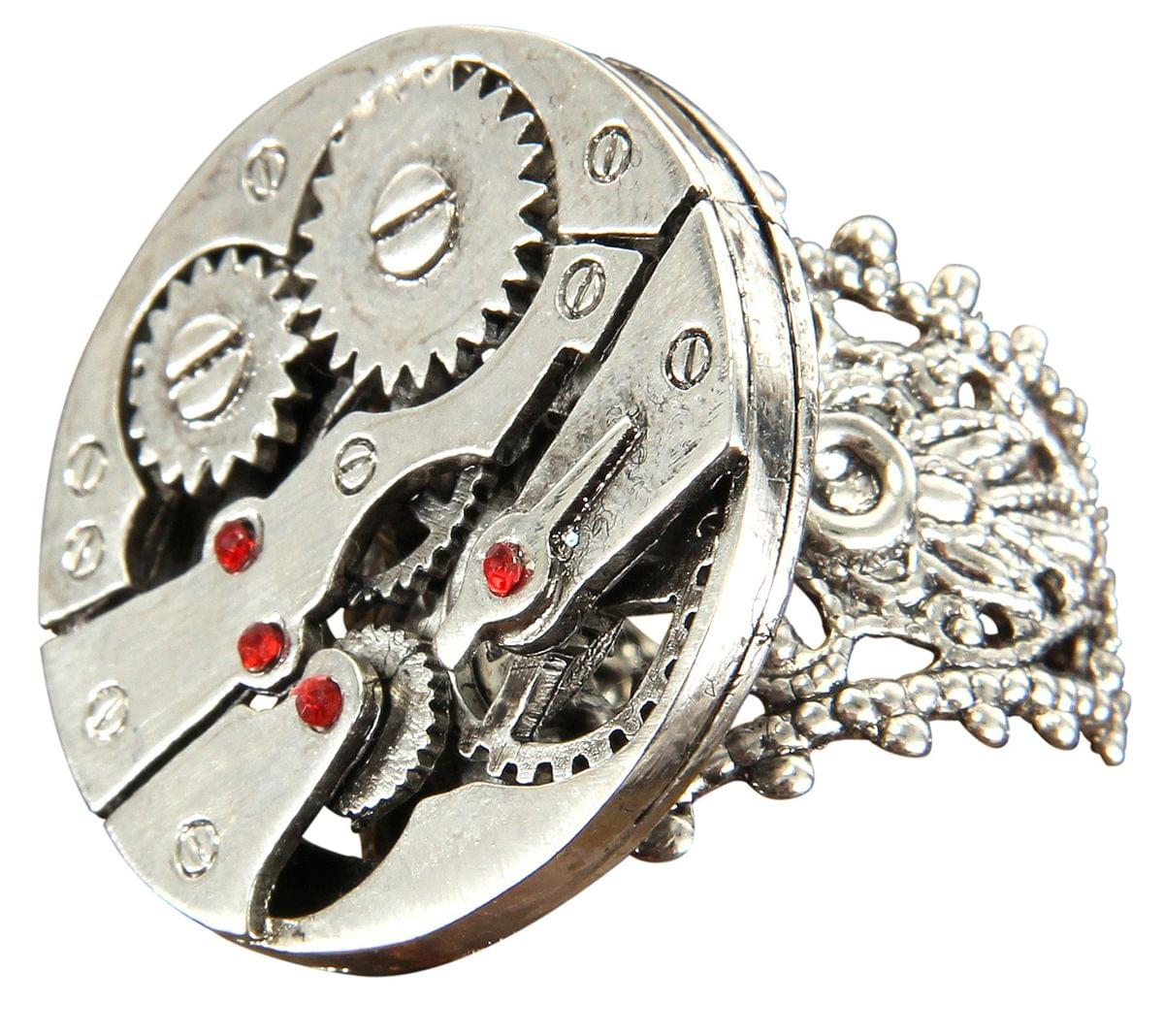 Steampunk Watch Gears Silver Costume Ring Adult One Size