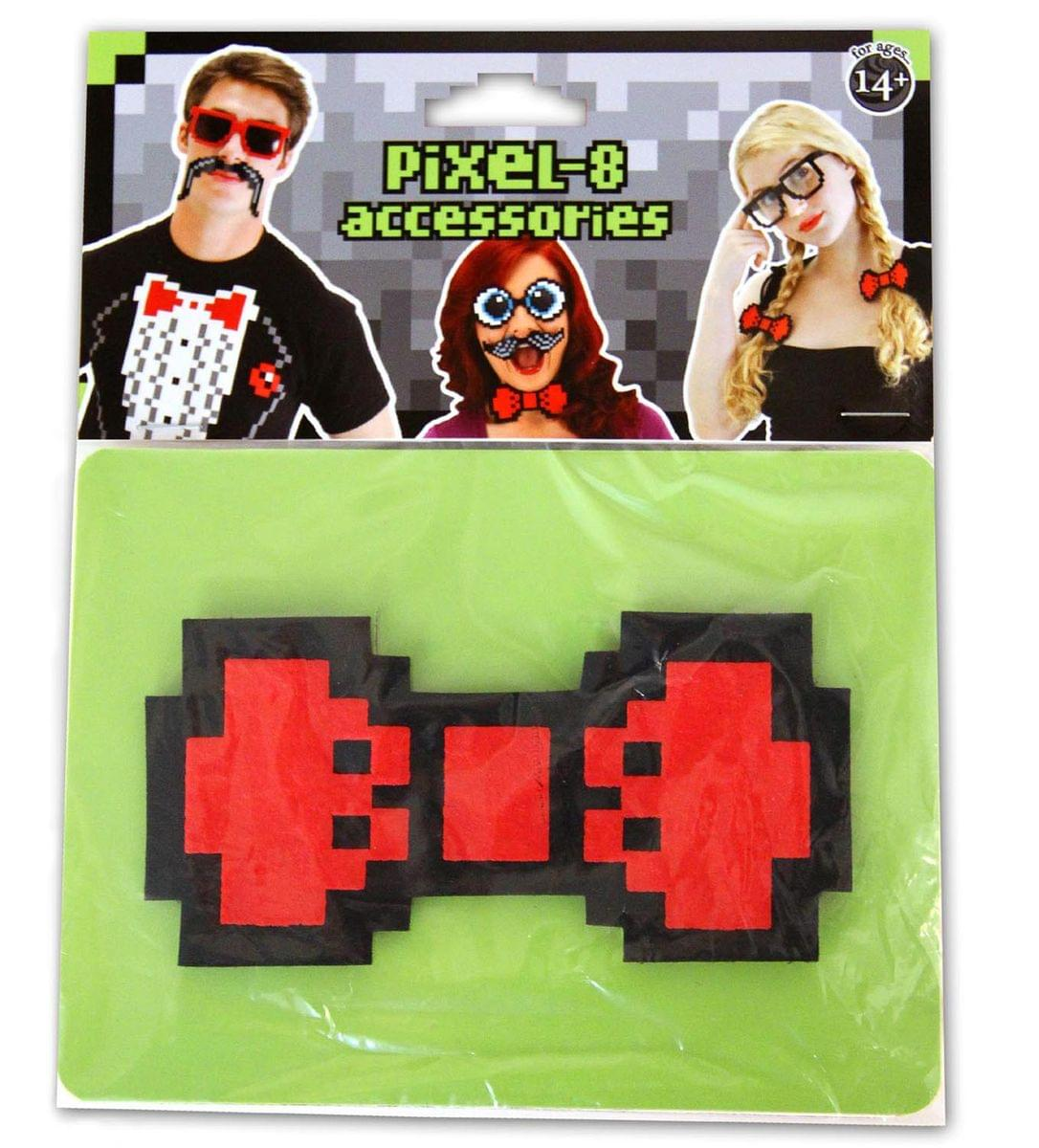 Pixel-8 Costume Bow Tie Adult: Red