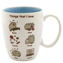 "Load image into Gallery viewer, Pusheen the Cat ""Things Pusheen Loves"" 12oz Stoneware Coffee Mug"