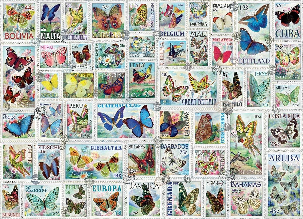 Butterflies Vintage Stamps 500 Piece Jigsaw Puzzle