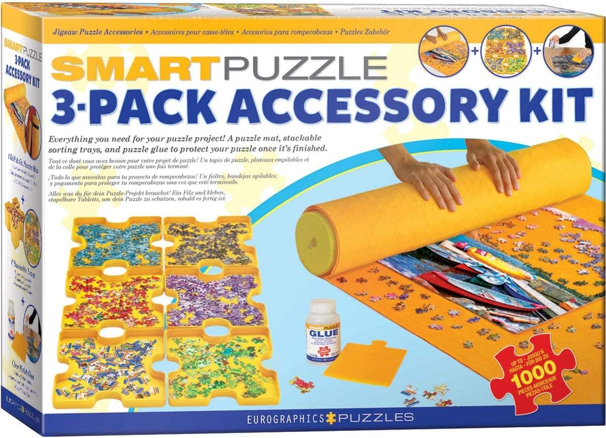 Jigsaw Puzzle 3 Piece Accessory Kit | Glue | Roll & Go | Sorting Trays