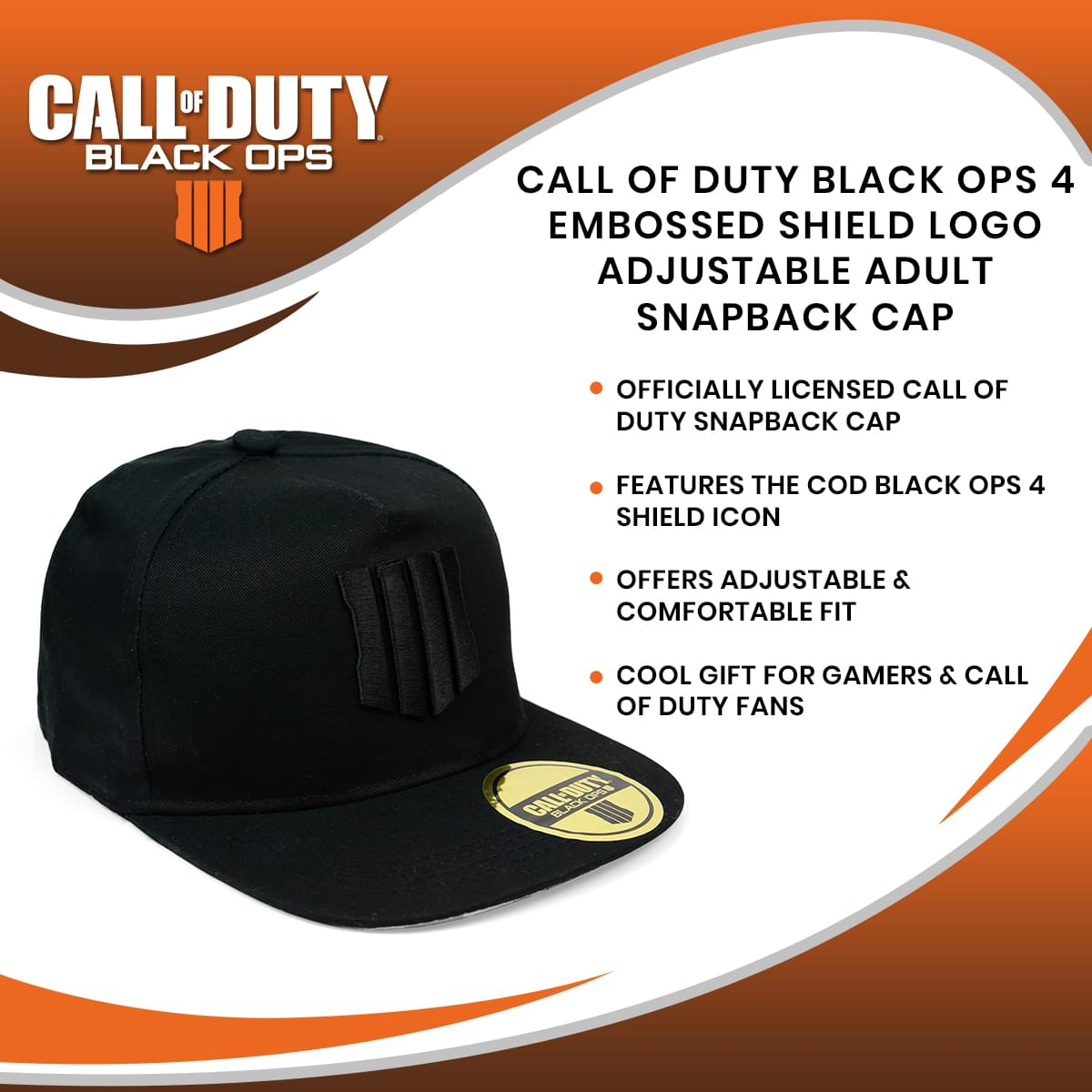 Call of Duty Black Ops 4 Embossed Shield Logo Adjustable Adult Snapback Cap
