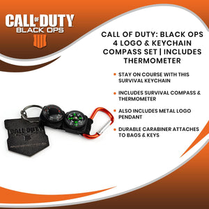 Call of Duty: Black Ops 4 Logo & Keychain Compass Set | Includes Thermometer