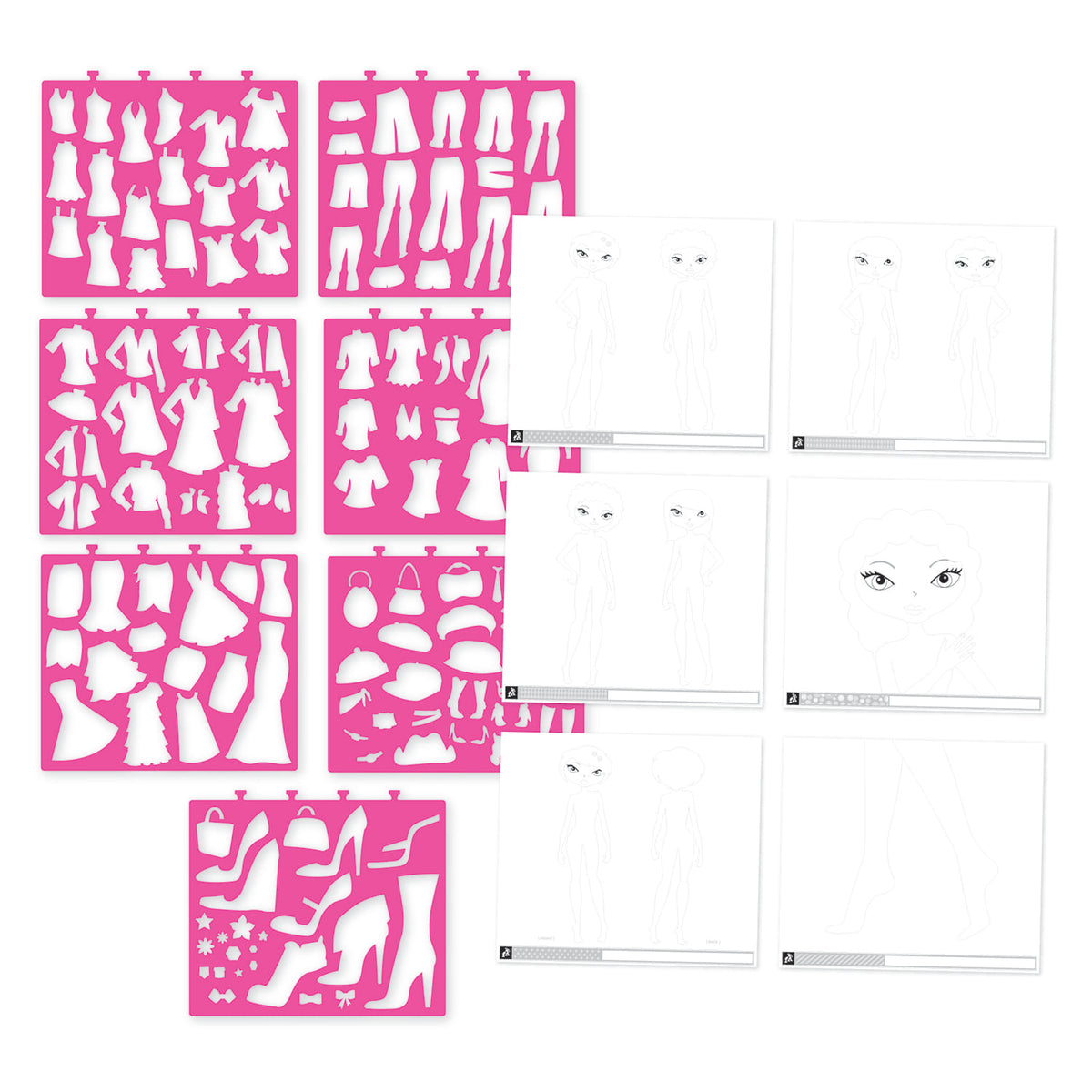 Fashion Design Sketch Portfolio & Stencil Set