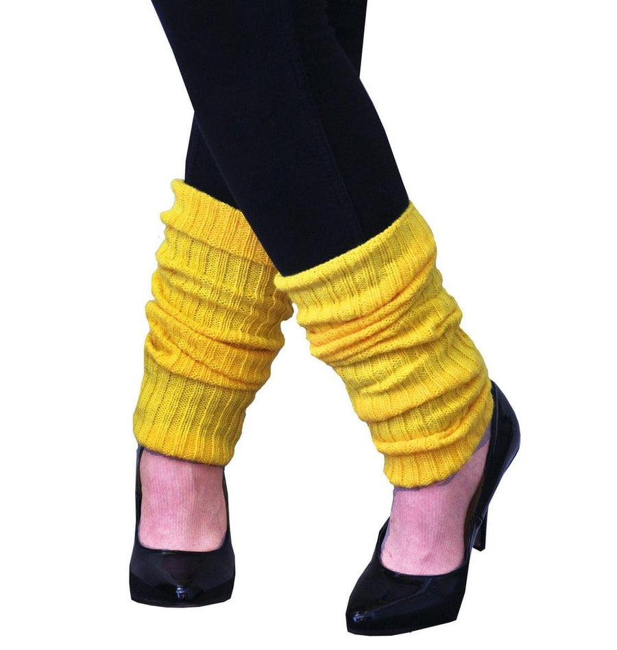 Adult Costume Leg Warmers, Neon Yellow