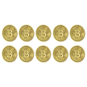 Bitcoin Gold Plated Commemorative Collector's Coin Lot of 10