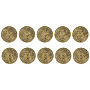 Bitcoin Bronze Plated Commemorative Collector's Coin Lot of 10