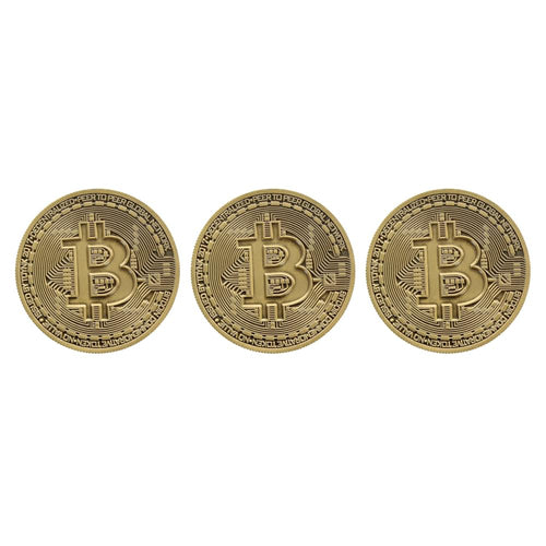 Bitcoin Bronze Plated Commemorative Collector's Coin Lot of 3