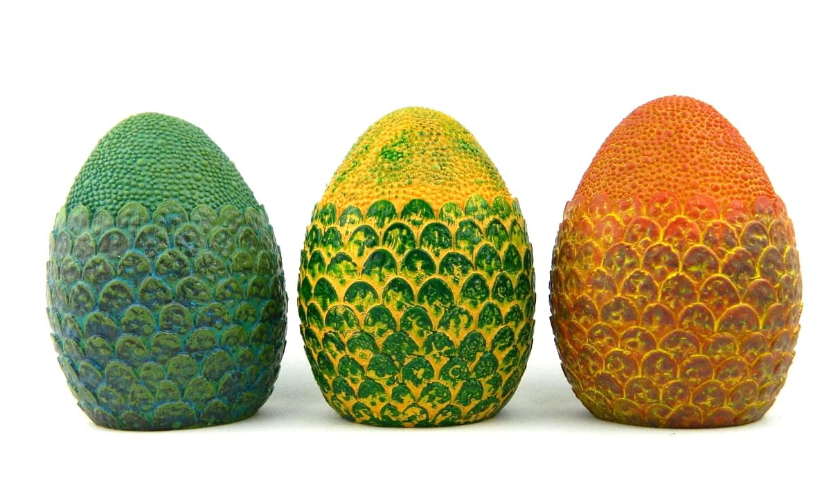 Dragon Egg 4.5-Inch Solid Resin Paperweight Prop Replicas - Set of 3 - Red, Green & Blue