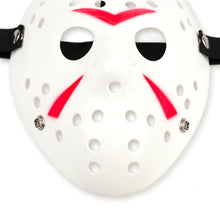Load image into Gallery viewer, Jason Hockey Mask | White Friday The 13th Mask | Sized for Adults & Teens