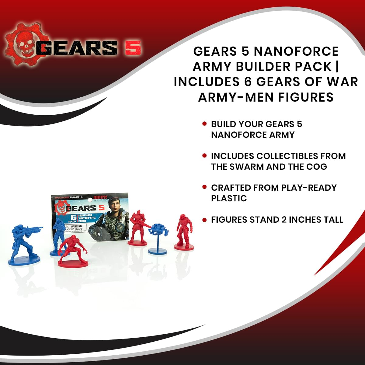 Gears 5 Nanoforce Army Builder Pack | Includes 6 Gears Of War Army-Men Figures