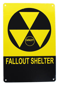 Vintage Fallout Shelter Metal Sign Replica, Nuclear Warning Sign, 6in X 9in