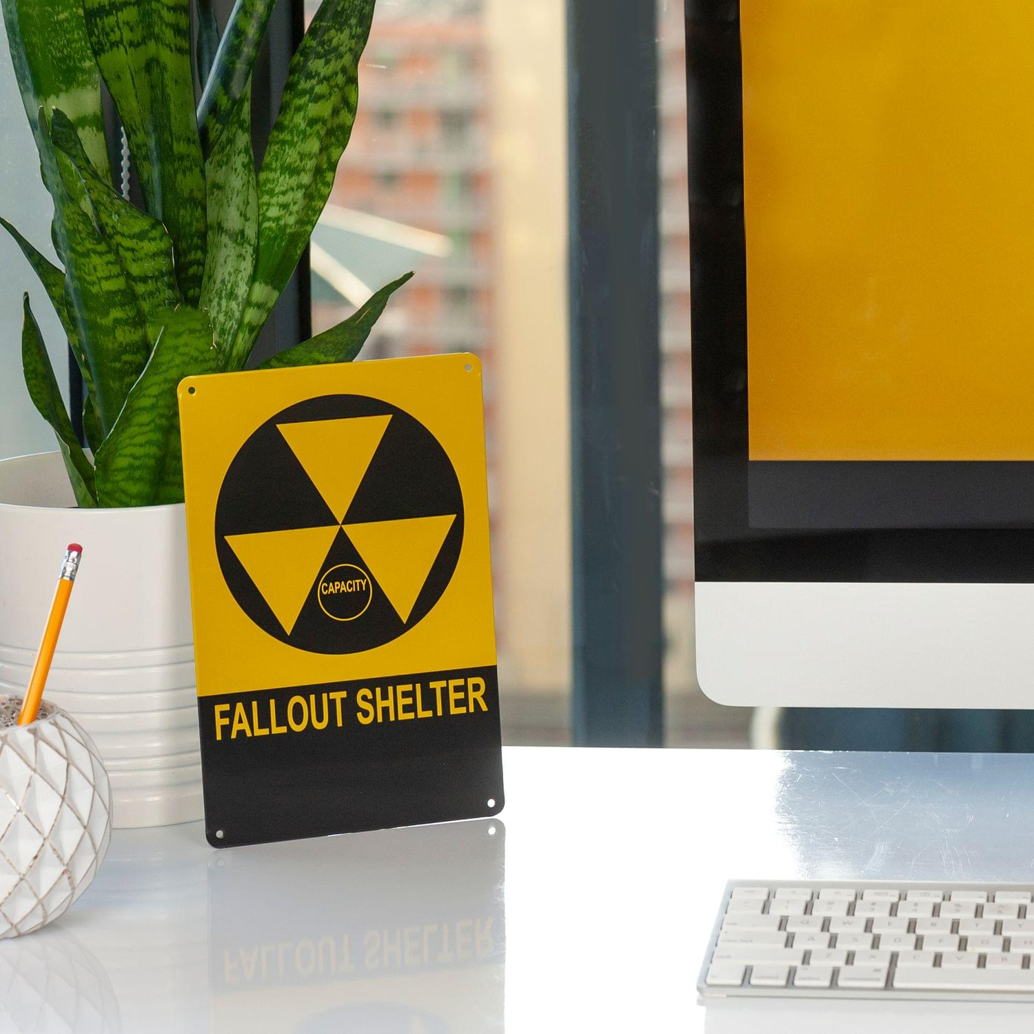 6in X 9in Toynk Vintage Fallout Shelter Metal Sign Replica Nuclear Warning Sign
