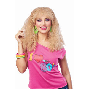 80's Crimped Adult Costume Wig | Blonde