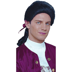 Colonial Duke Men's Costume Wig with Bow - Black