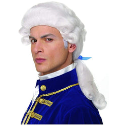 Colonial Duke Men's Costume Wig with Bow - White