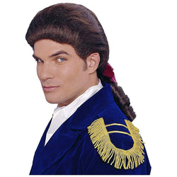 Colonial Duke Men's Costume Wig with Bow - Brown