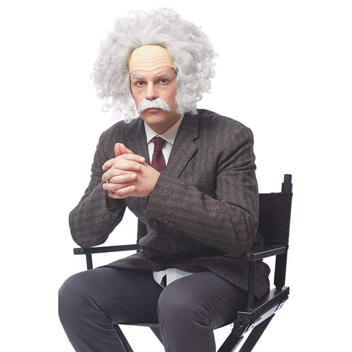 Genius Men's Costume Wig with Moustache - Grey