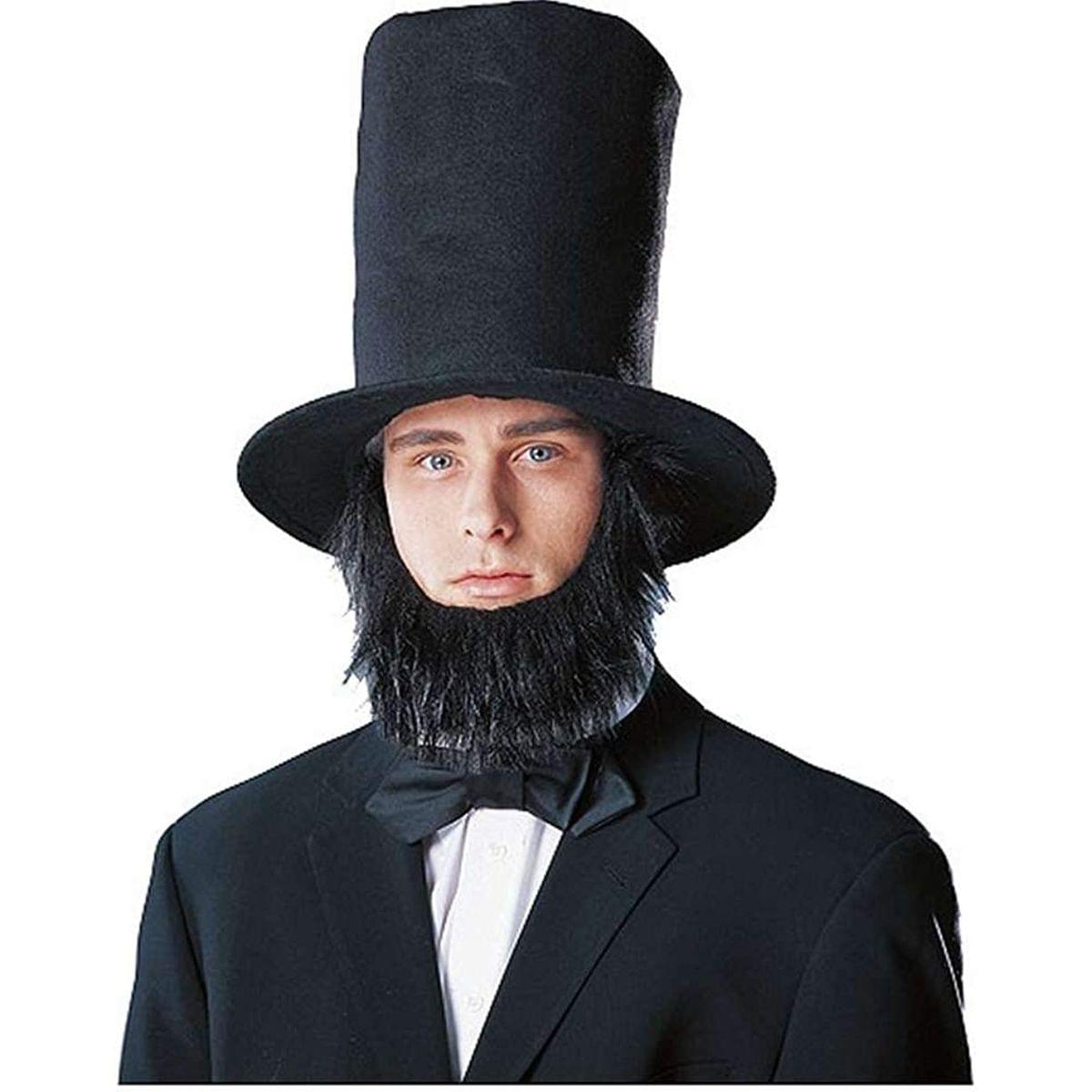 Abraham Lincoln Men's Costume Hat with Beard - Black