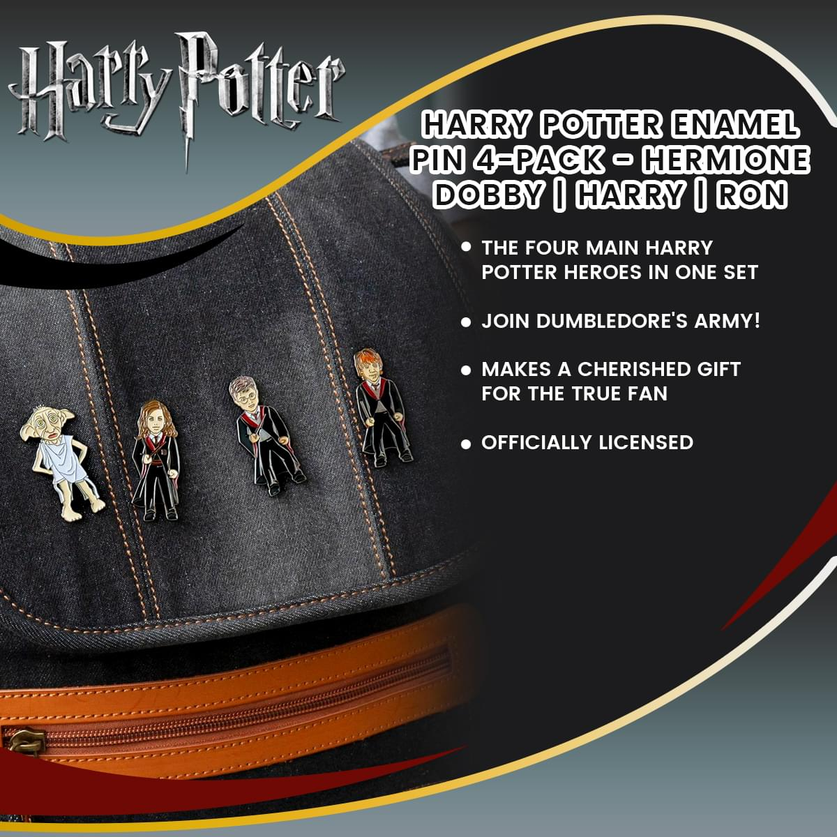 Harry Potter Enamel Pin 4-Pack - Hermione | Dobby | Harry | Ron