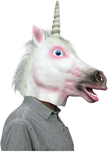 Unicorn Deluxe Latex Costume Mask w/ Faux Hair | One Size | Adult