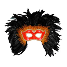 Load image into Gallery viewer, Mardi Gras Venetian Costume Eye Mask Red w/Black Feathers One Size